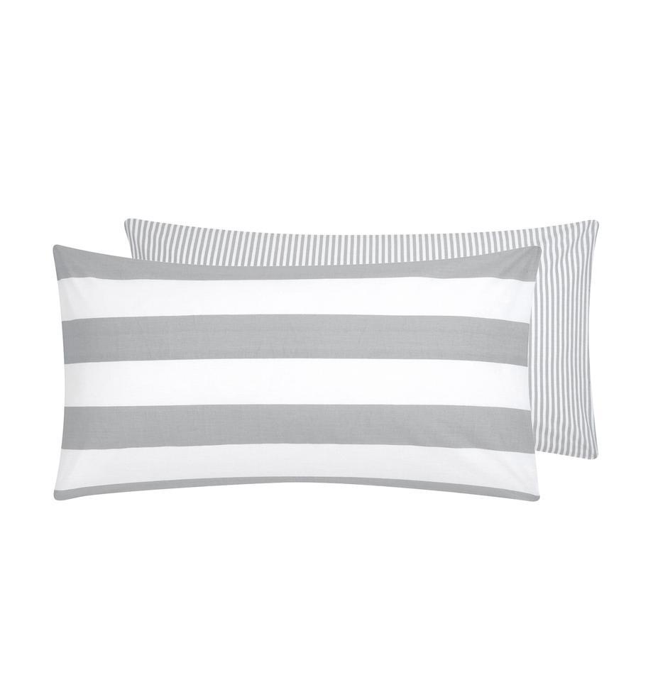 Gestreifte Baumwoll-Wendekissenbezüge Lorena, 2 Stück, Webart: Renforcé Fadendichte 144 , Weiß, Hellgrau, 40 x 80 cm