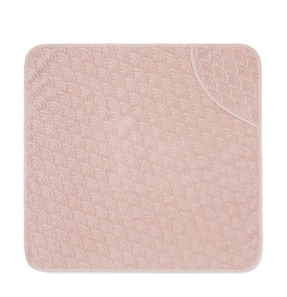 Asciugamano per bambini in cotone organico Wave, 100% cotone organico, Rosa, Larg. 80 x Lung. 80 cm