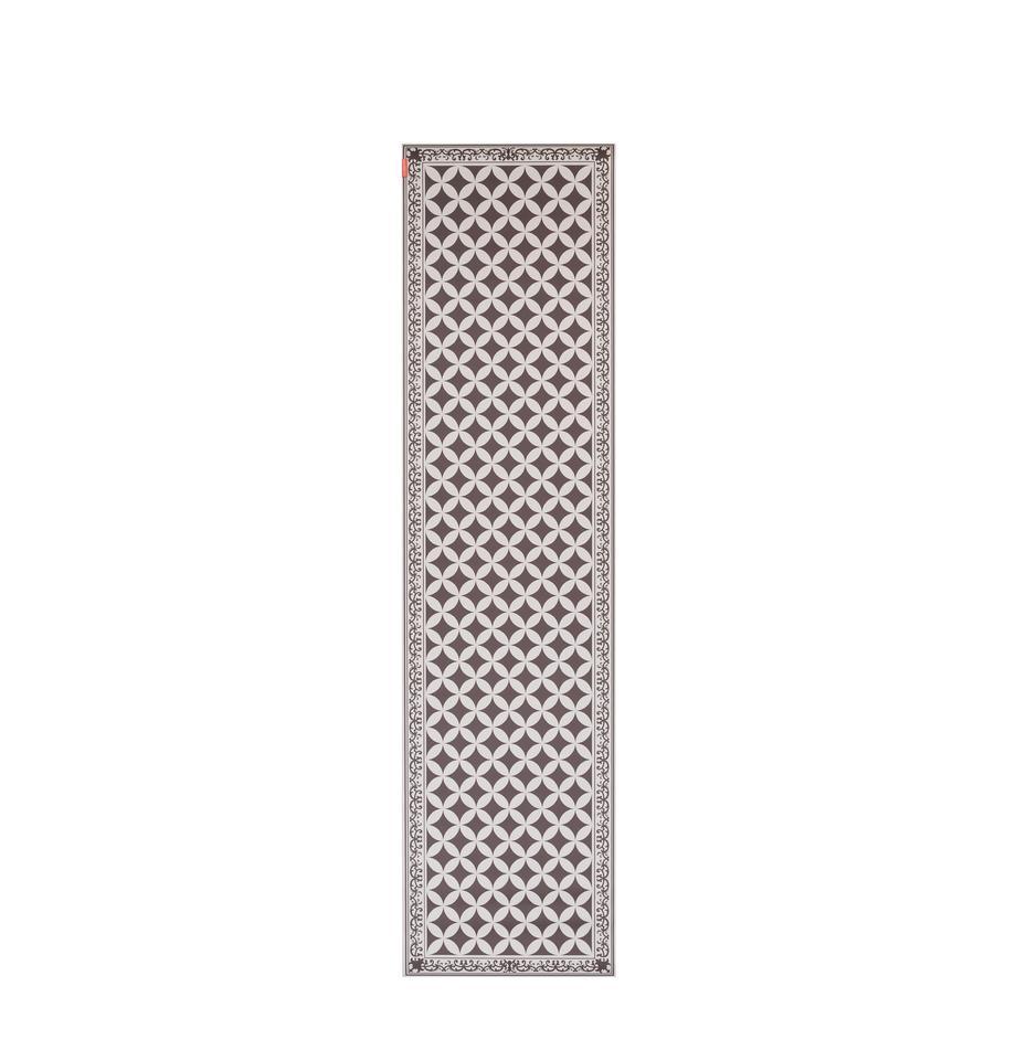 Flache Vinyl-Bodenmatte Chadi in Khaki/Beige, rutschfest, Vinyl, recycelbar, Khaki, Beige, 65 x 255 cm