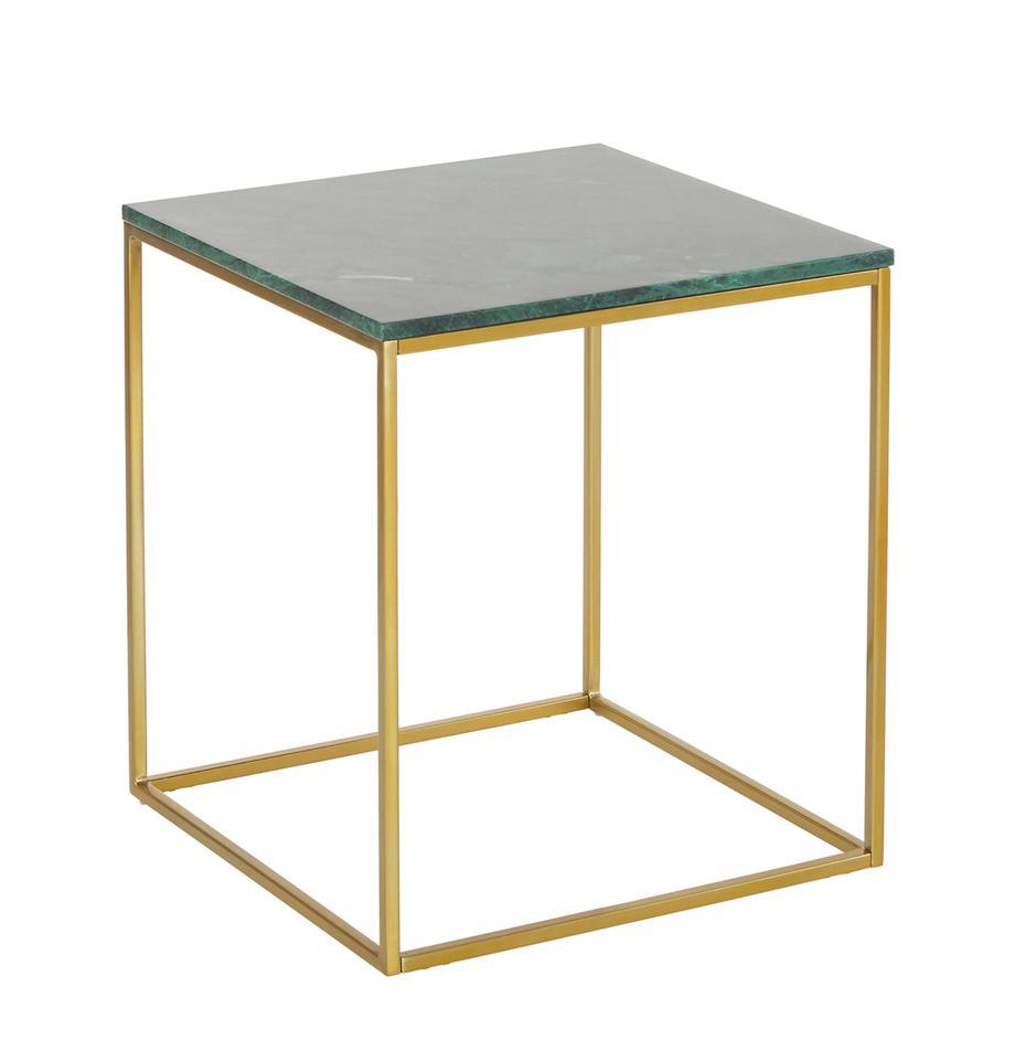 Mesa auxiliar de mármol Alys, Tablero: mármol natural, Estructura: metal con pintura en polv, Verde veteado, dorado, An 50 x Al 50 cm