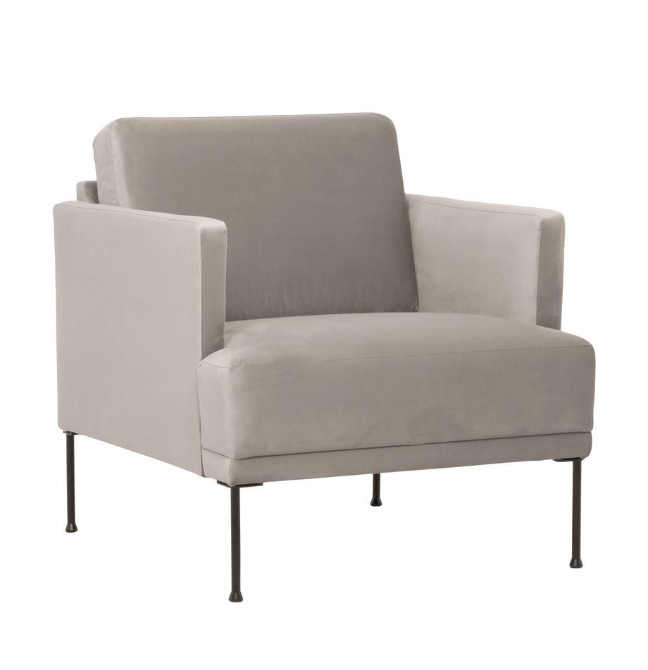 Fotel z aksamitu z metalowymi nogami Fluente, Tapicerka: aksamit (wysokiej jakości, Nogi: metal malowany proszkowo, Aksamitny beżowy, S 74 x G 85 cm