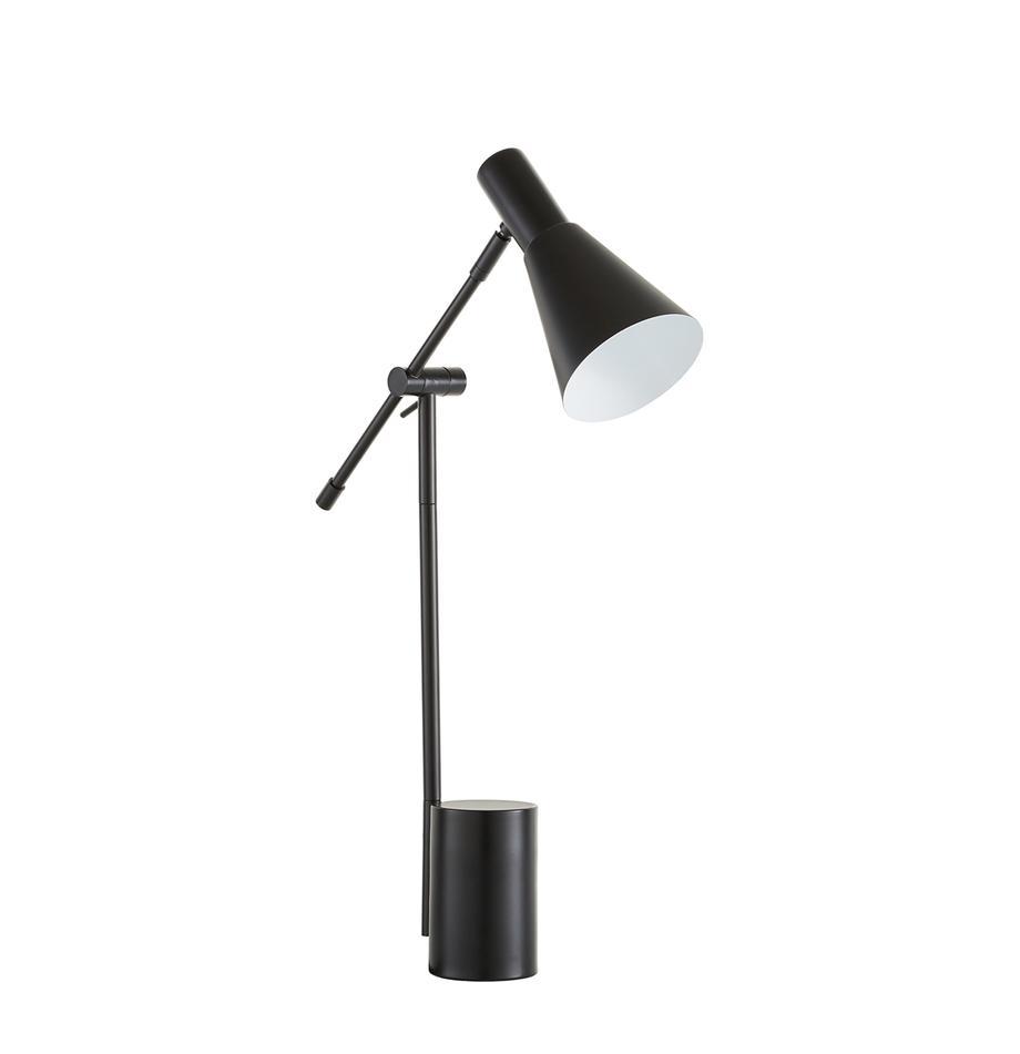 Lámpara de escritorio de metal Sia, Pantalla: metal con pintura en polv, Cable: cubierto en tela, Negro, An 13 x Al 63 cm