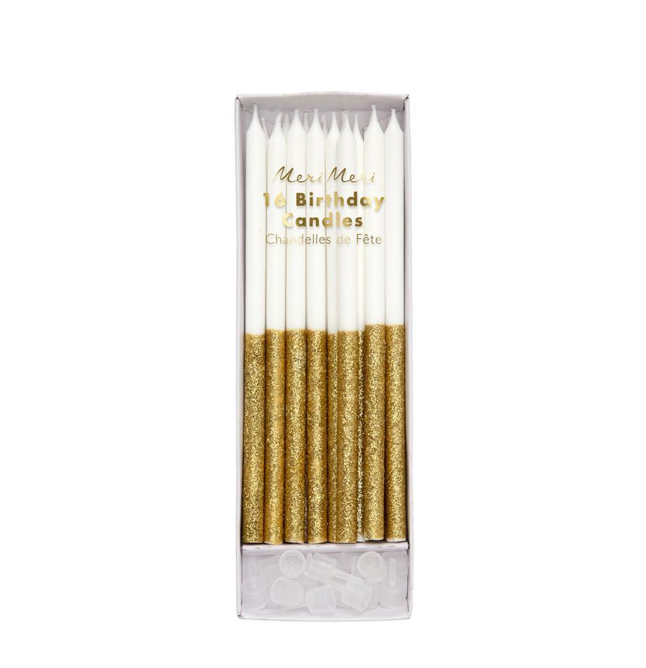 Set candele Dippy, 32 pz., Paraffina, materiale sintetico, Bianco, dorato, Ø 1 x Alt. 15 cm