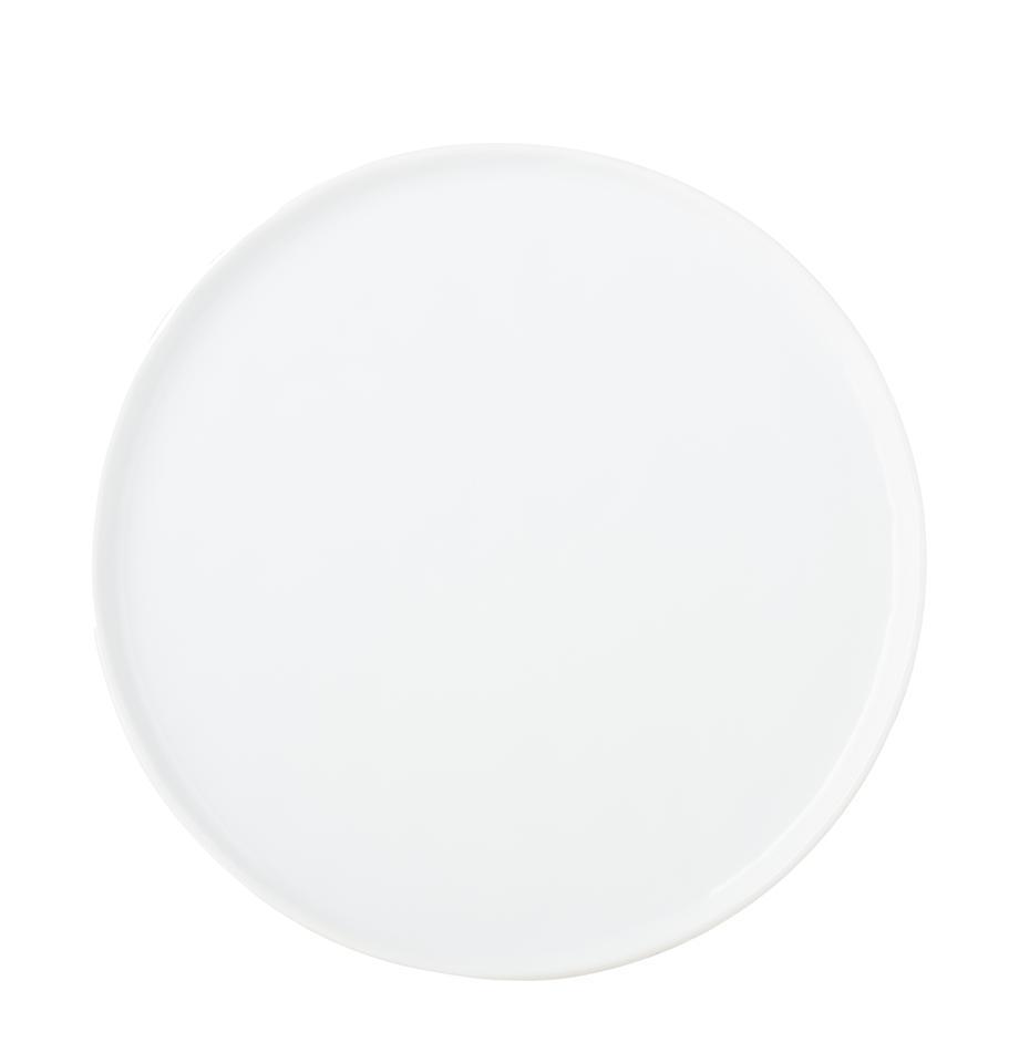 Speiseteller Porcelino mit unebener Oberfläche, 4 Stück, Porzellan, gewollt ungleichmässig, Weiss, Ø 27 cm