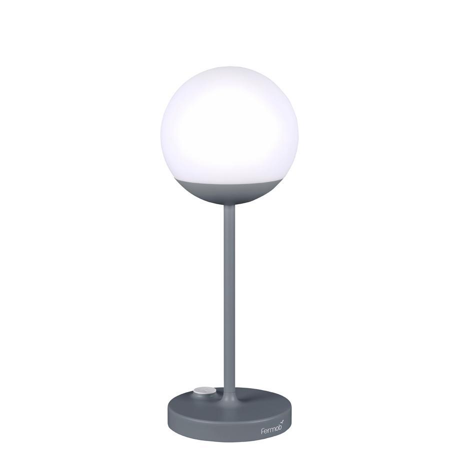 Mobile LED-Außentischlampe Mooon, Lampenschirm: Kunststoff, Gewittergrau, Ø 15 x H 41 cm