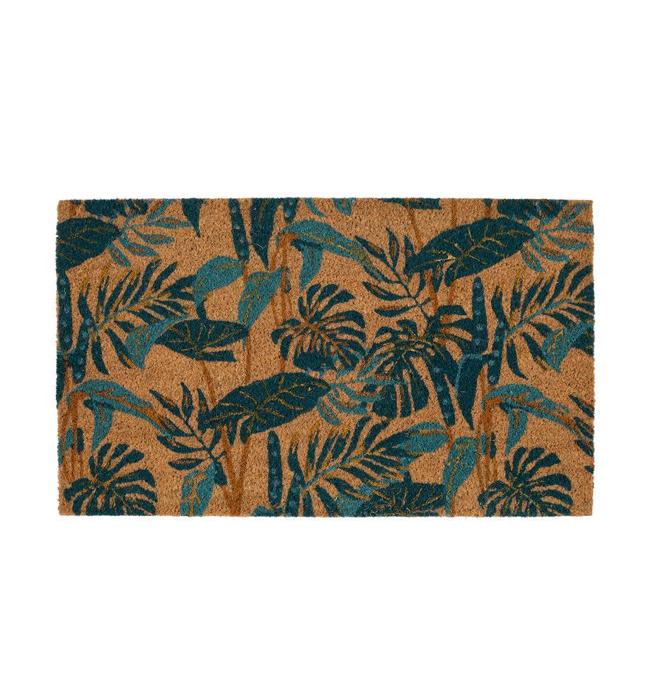 Fußmatte Pamchik mit tropischem Print, Vorderseite: Kokosfaser, Rückseite: PCV, Beige, Grüntöne, 43 x 73 cm