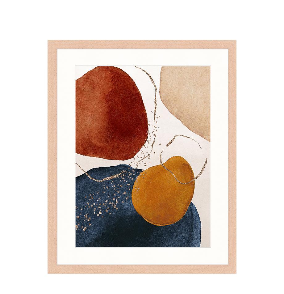 Ingelijste digitale print Terracota And Gold, Afbeelding: digitale print op papier,, Lijst: gelakt hout, Multicolour, 43 x 53 cm