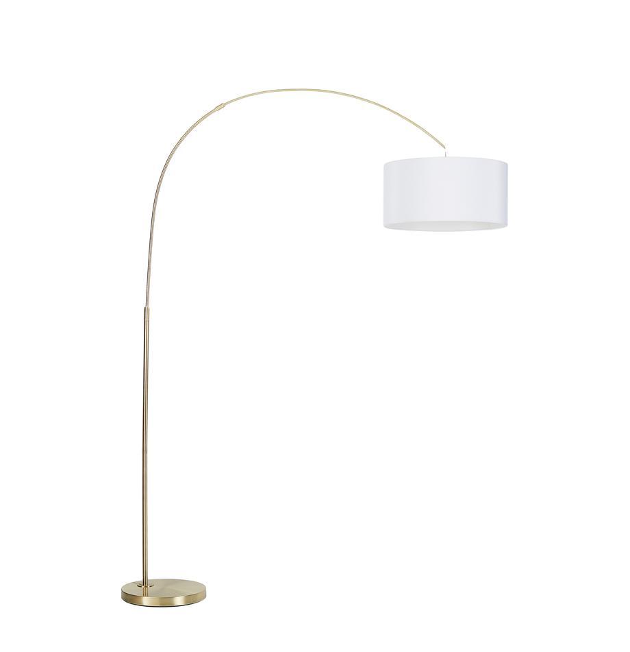 Moderne Bogenlampe Niels, Lampenschirm: Baumwollgemisch, Lampenschirm: WeissLampenfuss: MessingfarbenKabel: Transparent, 157 x 218 cm
