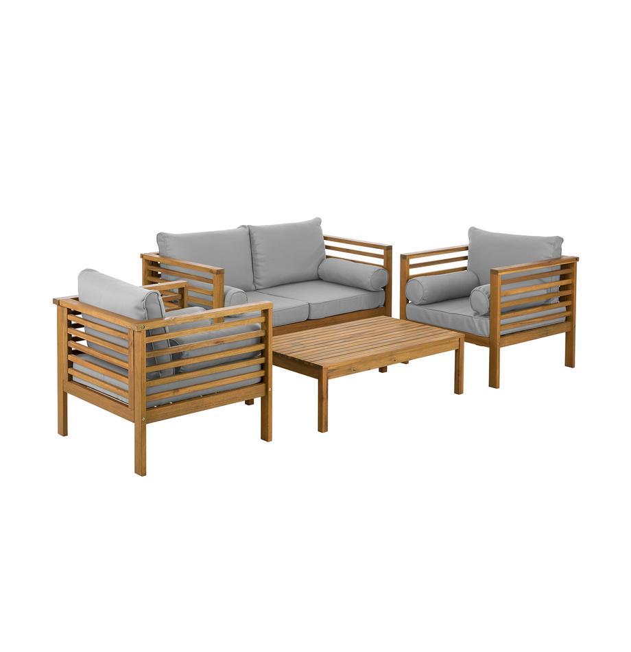 Garten-Lounge-Set Bo, 4-tlg., Gestell: Massives Akazienholz, geö, Bezüge: GrauGestelle: Akazienholz, Set mit verschiedenen Grössen