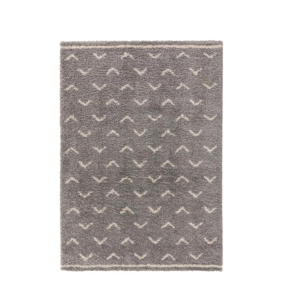 Tappeto boho a pelo lungo grigio/crema Selim, 100% polipropilene, Grigio, bianco crema, Larg. 120 x Lung. 170 cm (taglia S)