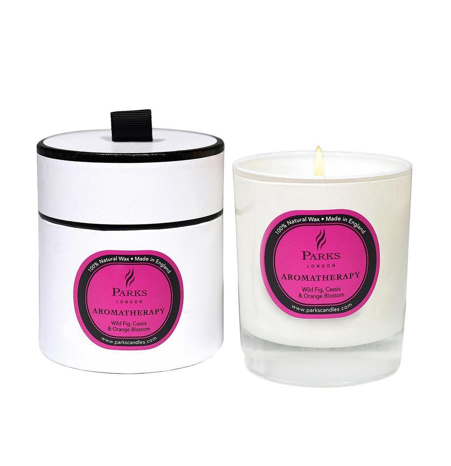 Vela perfumada Aromatherapy (higo, cassis y naranja), Recipiente: cristal, Transparente, blanco, rosa, Ø 8 x Al 9 cm