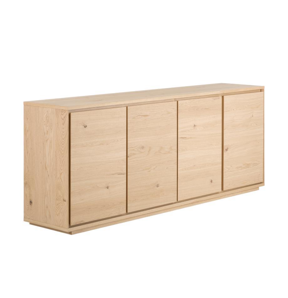 Credenza con finitura in quercia Finn, Superficie: impiallacciatura in legno, Retro: truciolato impiallacciato, Legno di quercia, Larg. 217 x Alt. 85 cm