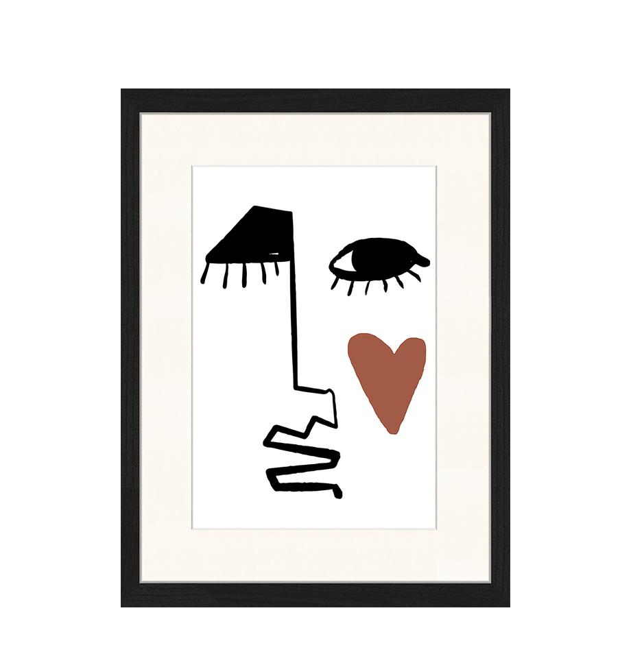 Ingelijste digitale print Love Your Face, Afbeelding: digitale print op papier,, Lijst: gelakt hout, Zwart, wit, roodbruin, 33 x 43 cm