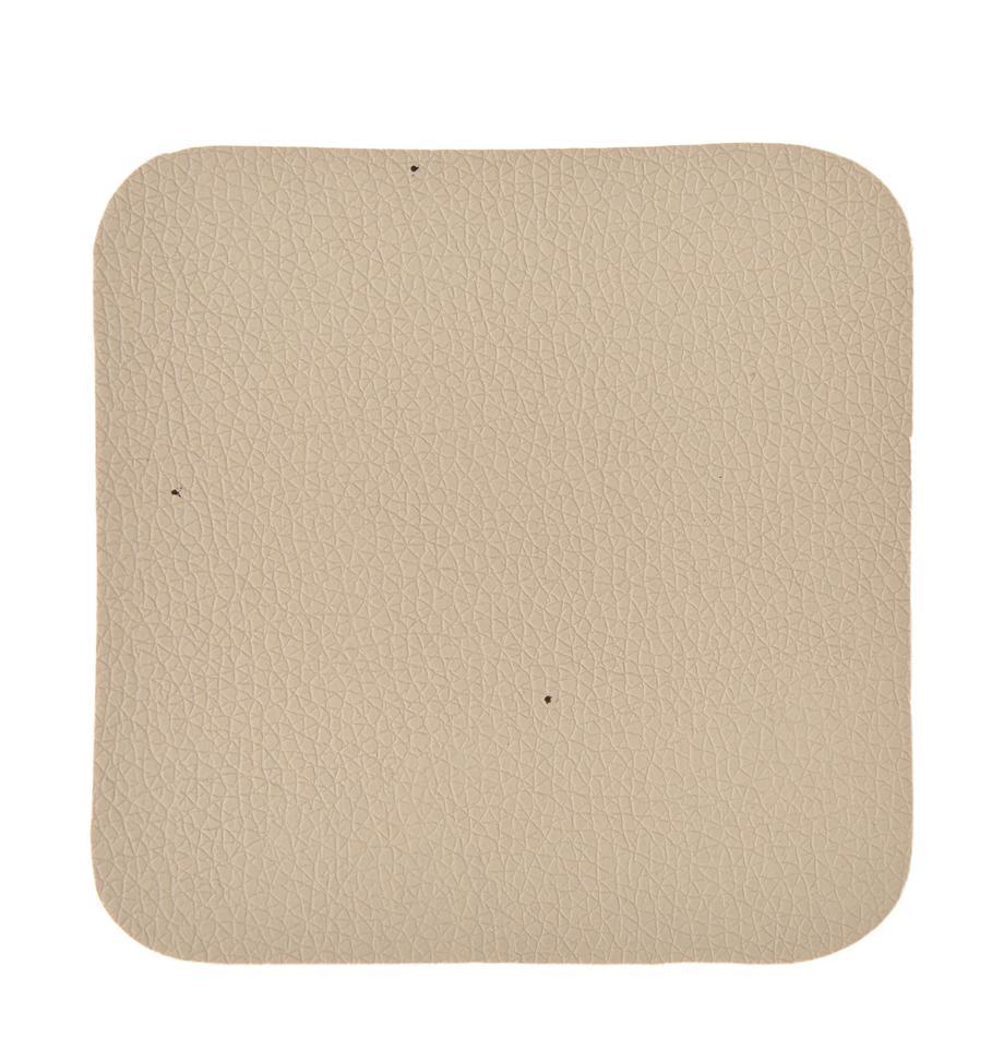 Posavasos de cuero sintético Pik, 4uds., Plástico (PVC) es aspecto de cuero, Beige, An 10 x L 10