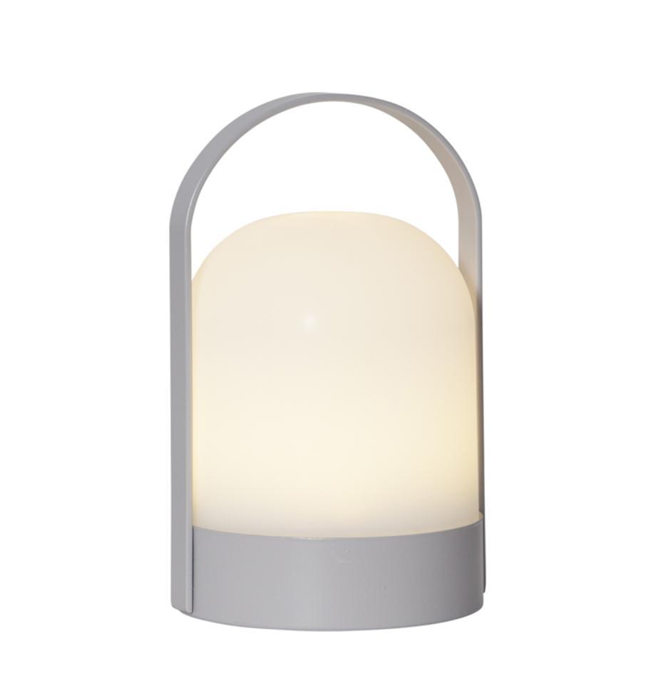 LED Tischleuchte Lette, batteriebetrieben, Lampenschirm: Kunststoff, Weiß, Grau, Ø 14 x H 22 cm