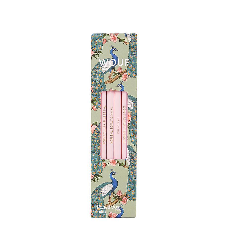 Bleistift-Set Royal Forest, 6-tlg., Holz, Mintgrün, Mehrfarbig, Rosa, 18 x 5 cm