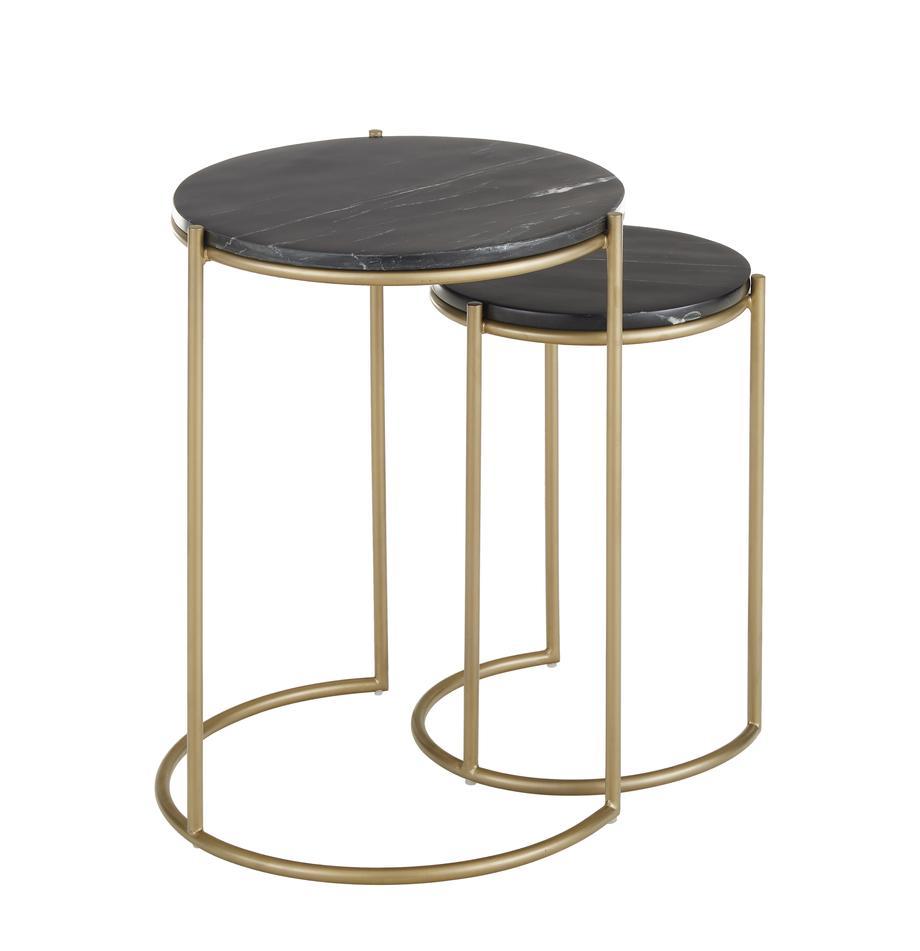 Set de mesas auxiliares de mármol Ella, Tablero: mármol, Estructura: metal con pintura en polv, Mármol negro, dorado, Set de diferentes tamaños