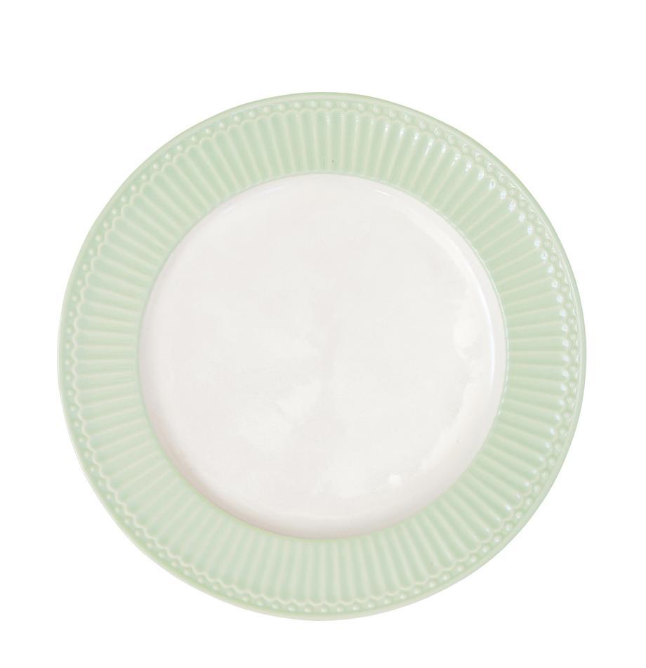Platos llanos artesanales Alice, 2uds., Gres, Verde pastel, blanco, Ø 27 cm