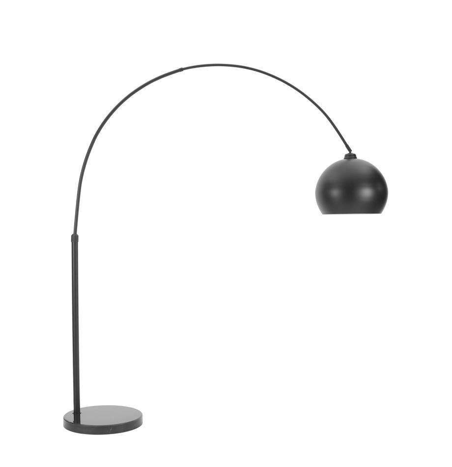 Lampa podłogowa z marmurową podstawą Toronto, Stelaż: metal malowany proszkowo, Czarny, S 190 x W 198 cm