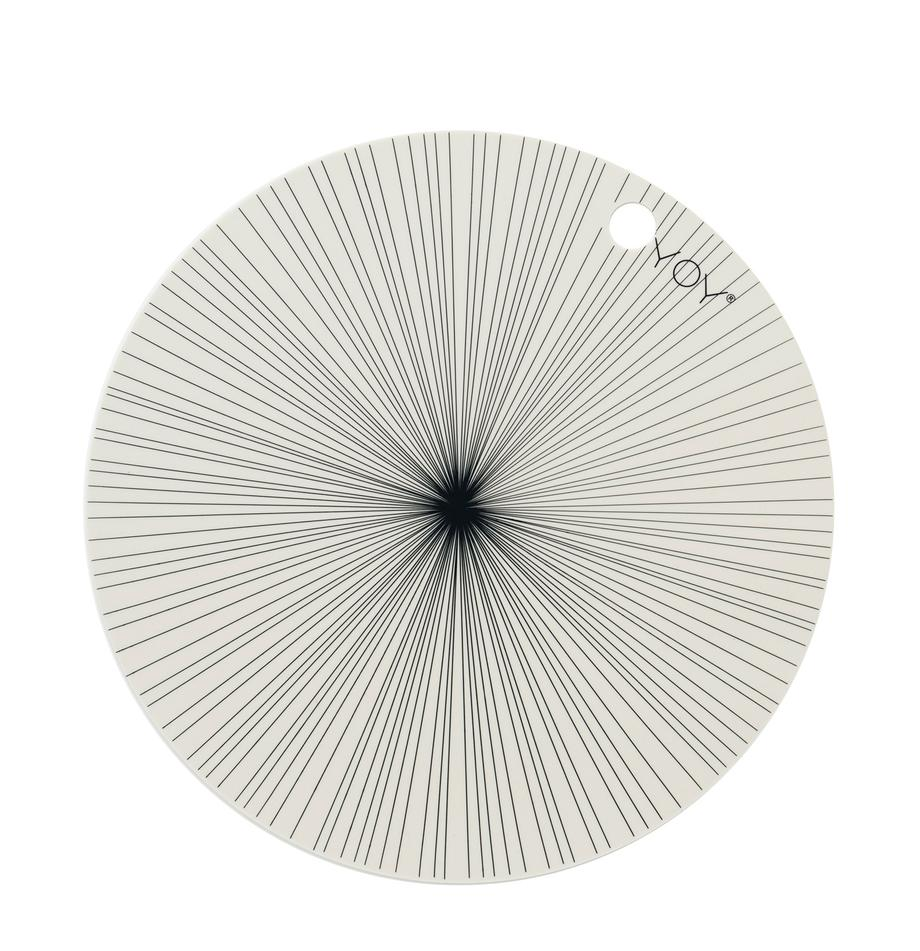Ronde siliconen placemats Ray, 2 stuks, Siliconen, Gebroken wit, zwart, Ø 39 cm