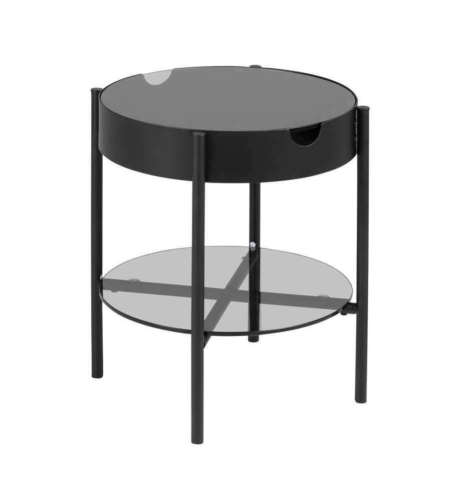Glas-Beistelltisch Tipton mit Stauraum, Hartglas, Metall, Grau, Schwarz, Ø 45 x H 50 cm