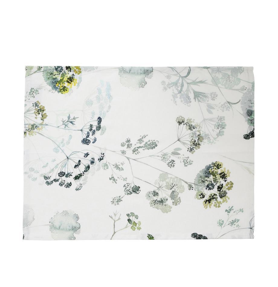 Baumwoll-Tischsets Herbier mit Aquarell Print, 2 Stück, Baumwolle, Weiss, Grüntöne, 38 x 50 cm