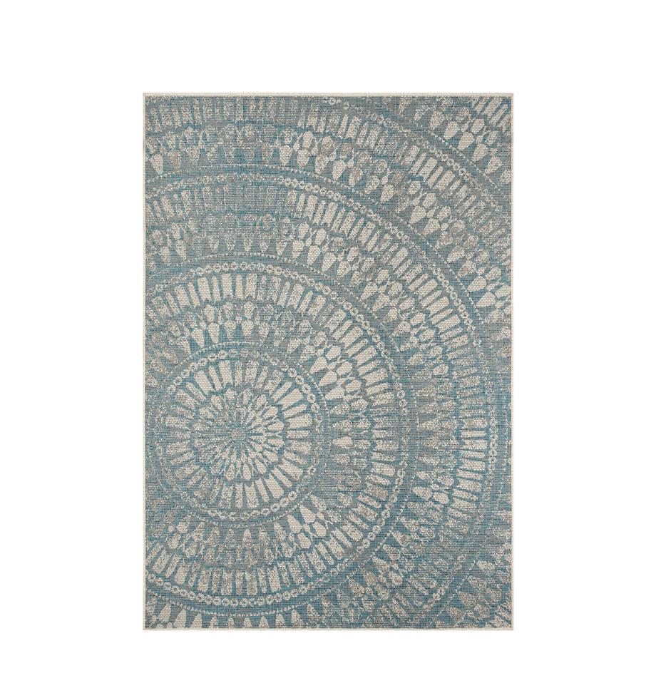 Gemusterter In- & Outdoor-Teppich Arnon, 100% Polypropylen, Türkis, Beige, B 140 x L 200 cm (Größe S)