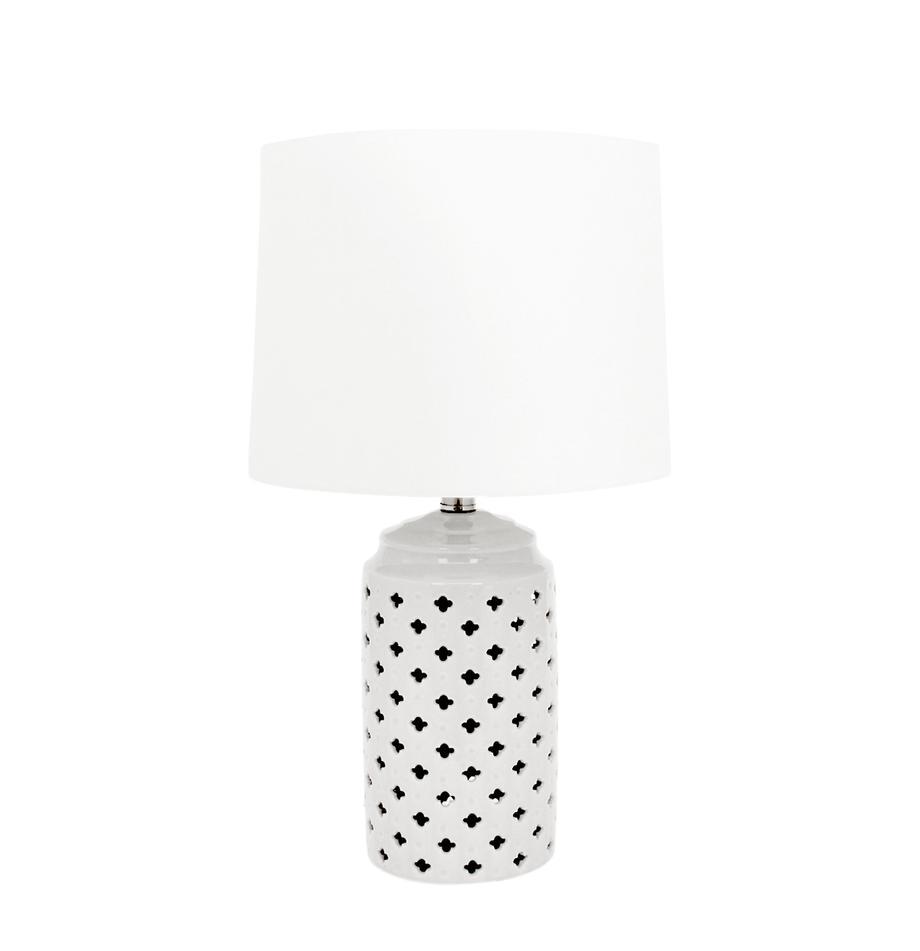 Lámpara de mesa Naomi, Pantalla: 100%lino, Blanco, gris pardo, Ø 31 x Al 51 cm