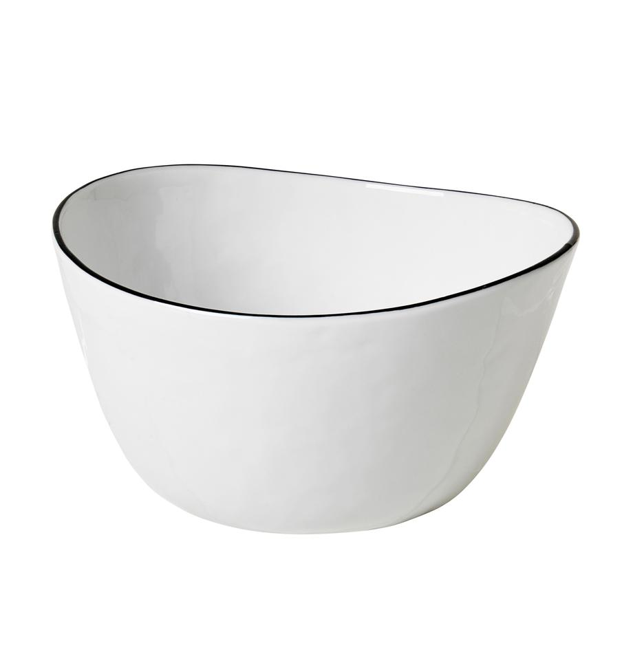 Handgemachte Schüssel Salt mit schwarzem Rand, Ø 20 cm, Porzellan, Gebrochenes Weiß, Schwarz, B 20 x T 19 cm