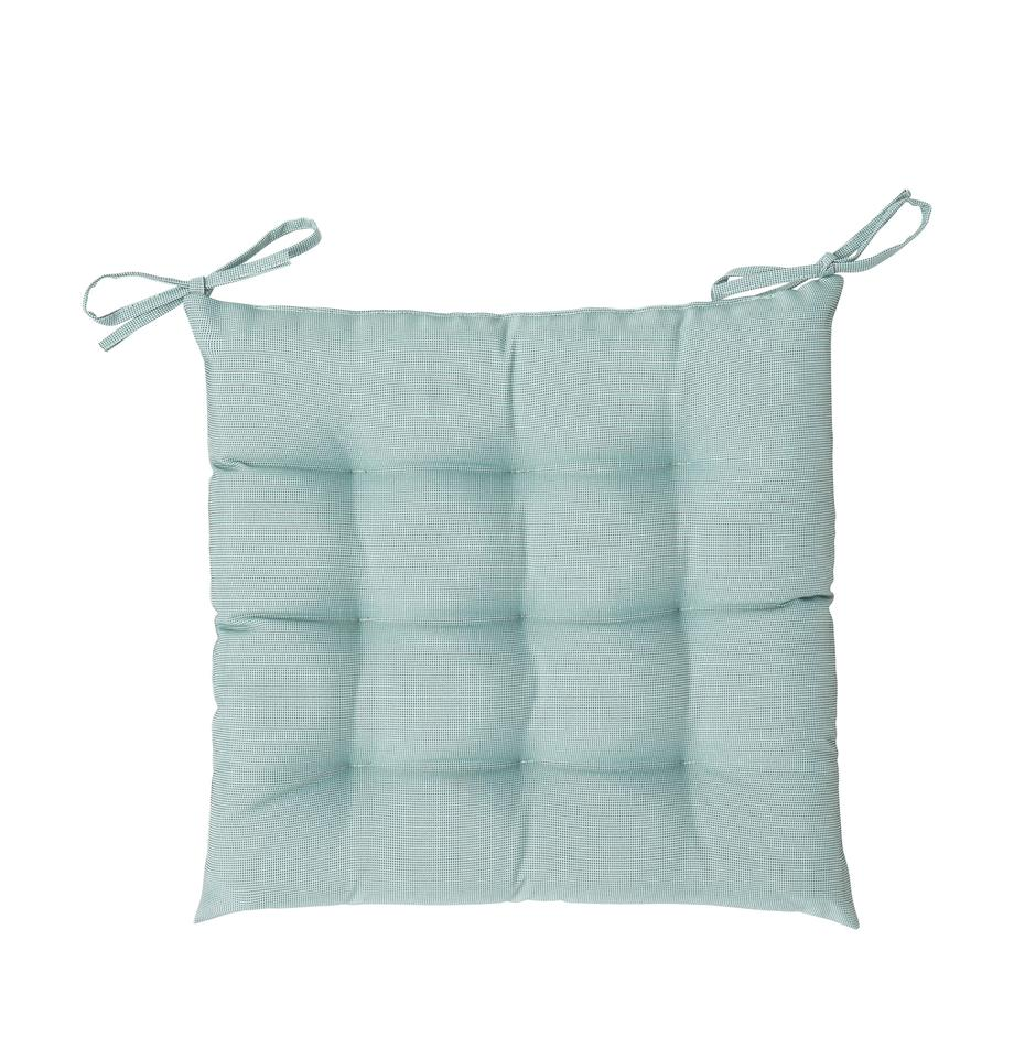 Zweifarbig gewebtes Outdoor-Sitzkissen St. Maxime, 100% Polyester, Mint, Schwarz, 38 x 38 cm