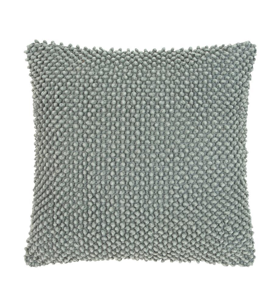 Poszewka na poduszkę z strukturalną powierzchnią Indi, 100% bawełna, Szałwiowy zielony, S 45 x D 45 cm