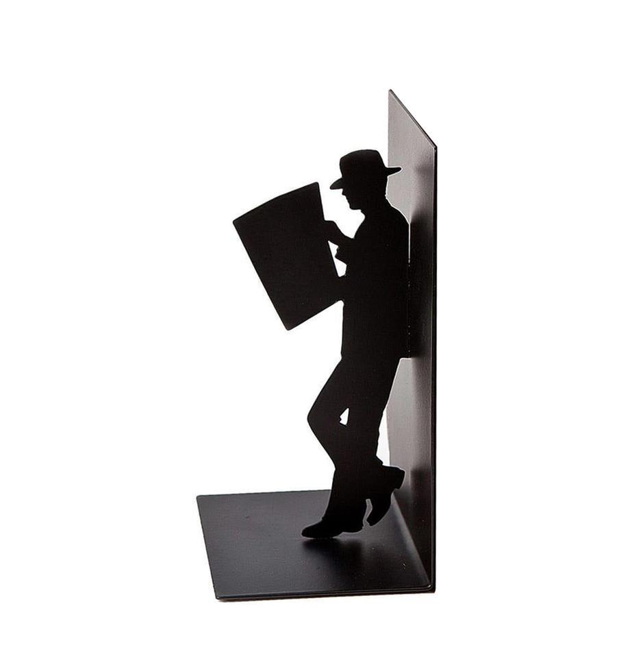 Sujetalibros The Reader, Metal pintado, Negro, An 10 x Al 17 cm