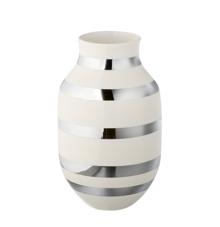 Duży ręcznie wykonany wazon Omaggio, Ceramika, Odcienie srebrnego, błyszczący, biały, Ø 20 x W 30 cm