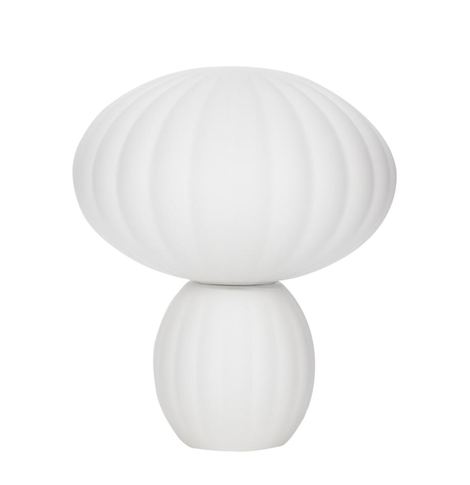 Lampada da tavolo con paralume in vetro opale Bluni, Paralume: vetro opale, Base della lampada: metallo verniciato, Bianco, Ø 23 x Alt. 28 cm