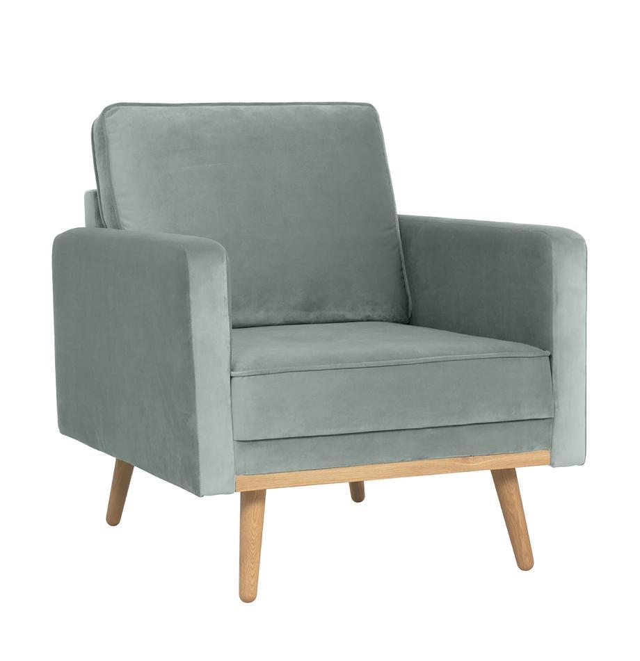 Fluwelen fauteuil Saint in saliekleurig met eikenhouten poten, Bekleding: fluweel (polyester) De ho, Frame: massief eikenhout, spaanp, Fluweel saliekleurig, B 85 x D 76 cm