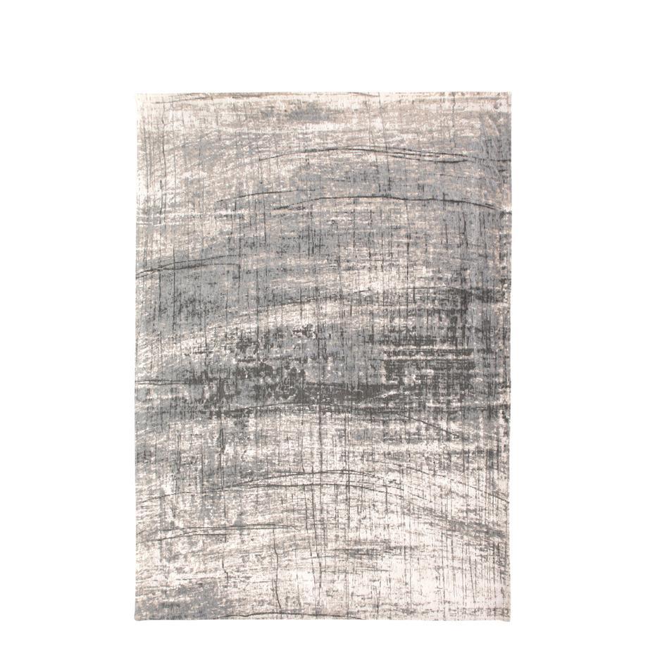 Vloerkleed Griff, Bovenzijde: 85%katoen, 15%hoogglanz, Weeftechniek: jacquard, Onderzijde: katoenmix, gecoat met lat, Grijstinten, wit, B 80 x L 150 cm (maat XS)