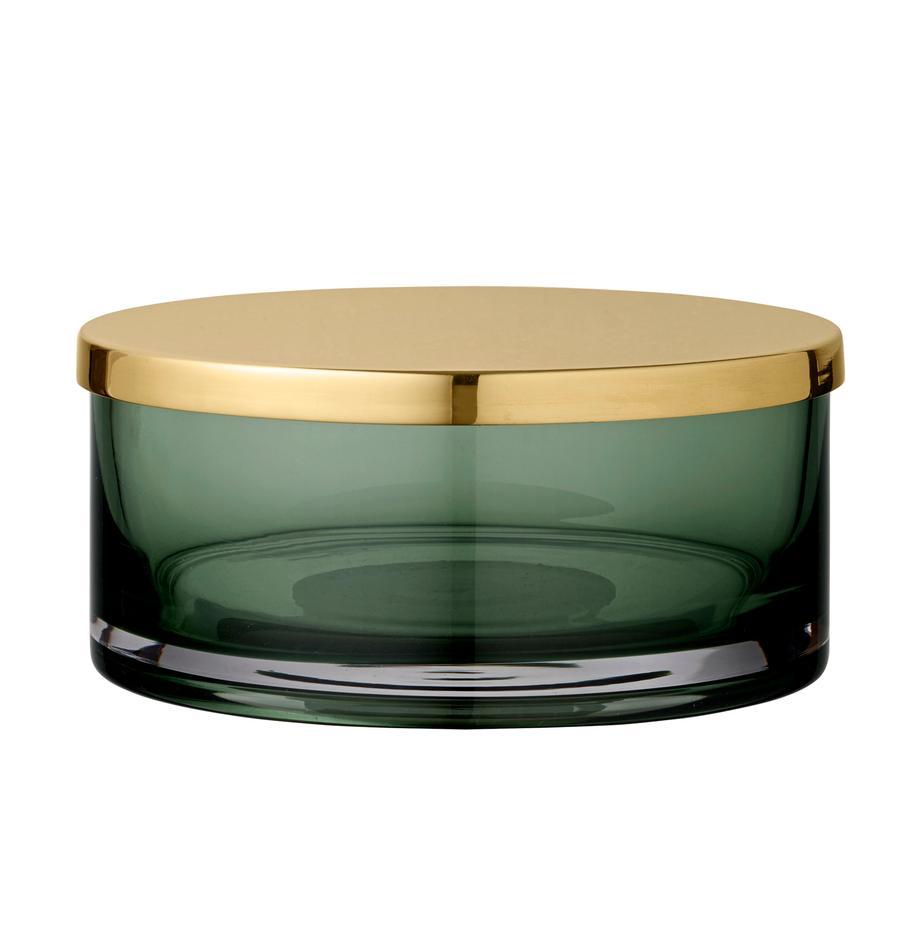 Aufbewahrungsdose Tota, Deckel: Messing, Dose: Glas, Deckel: Messing Dose: Hellgrün, transparent, Ø 16 x H 7 cm
