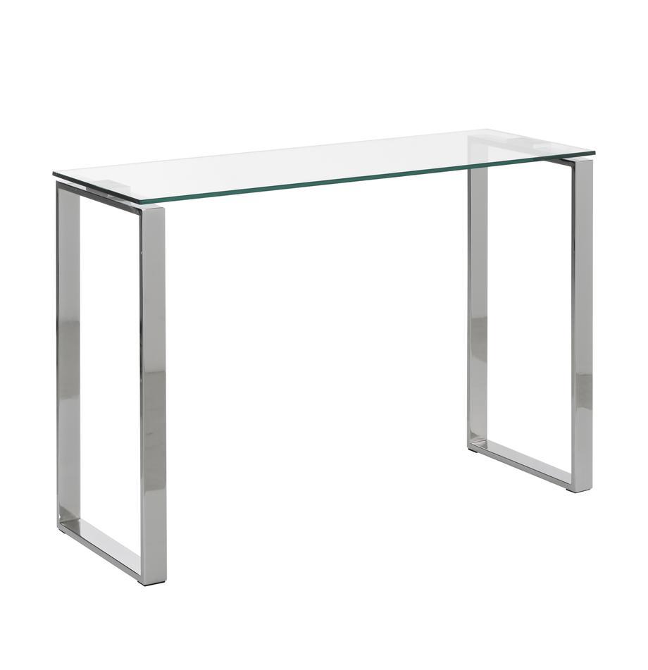 Consola de vidrio Katrine, Vidrio templado, metal, Transparente, An 110 x Al 76 cm