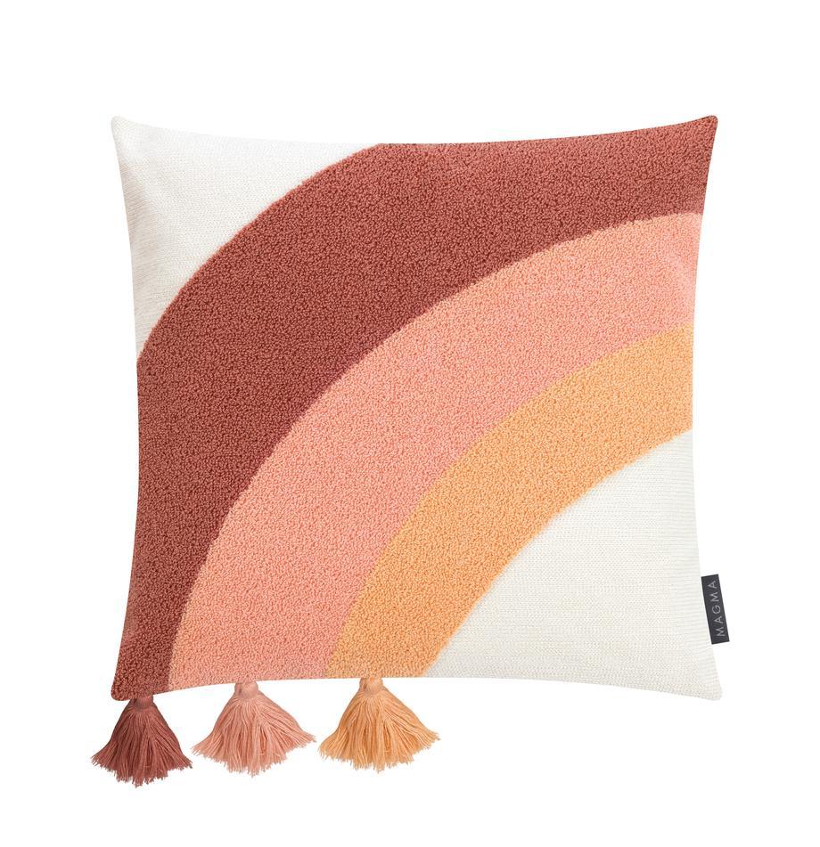 Federa arredo con nappe Verano, 60% cotone, 40% poliacrilico, Crema, pesca, rosa, terracotta, Larg. 45 x Lung. 45 cm