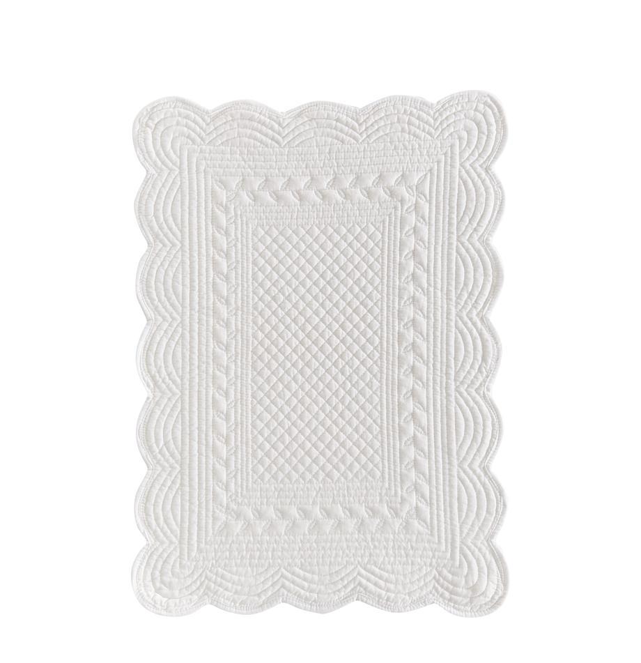 Baumwoll-Tischsets Boutis, 6 Stück, Baumwolle, Weiss, 34 x 48 cm