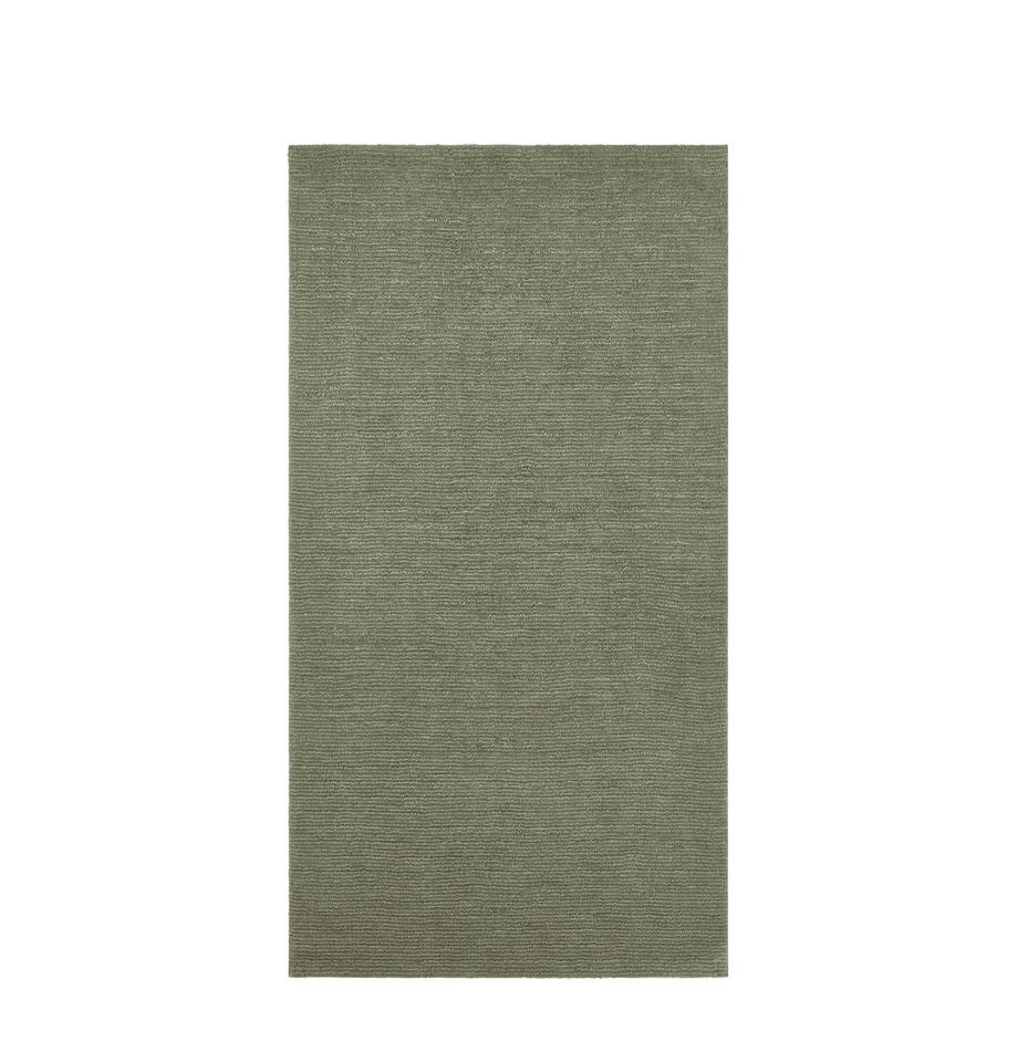 Alfombra Supersoft, Parte superior: poliéster, Reverso: tela, Verde musgo, An 80 x L 150 cm (Tamaño XS)