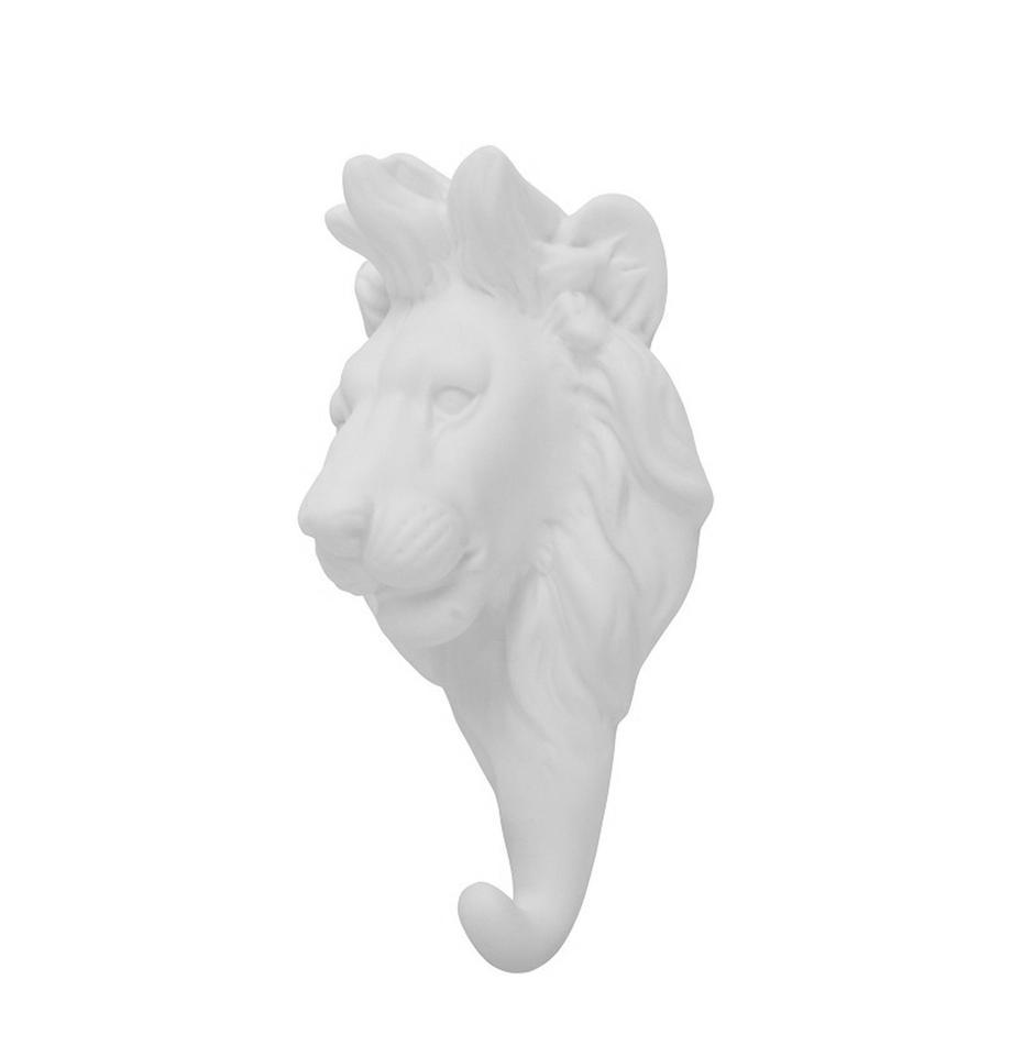 Wandhaak Lion, Porselein, Wit, H 15 cm