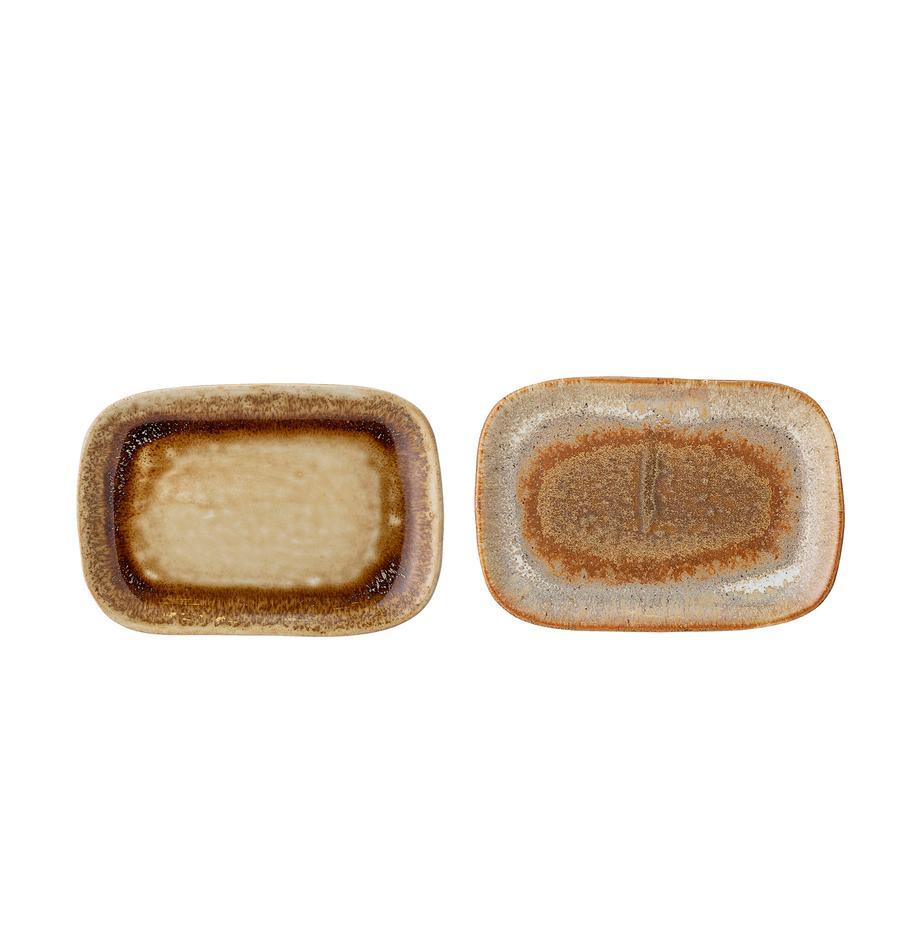 Handgemachte Servierplatten Willow B 10 x L 14 cm, 2er-Set., Steingut, Brauntöne, B 14 x T 10 cm