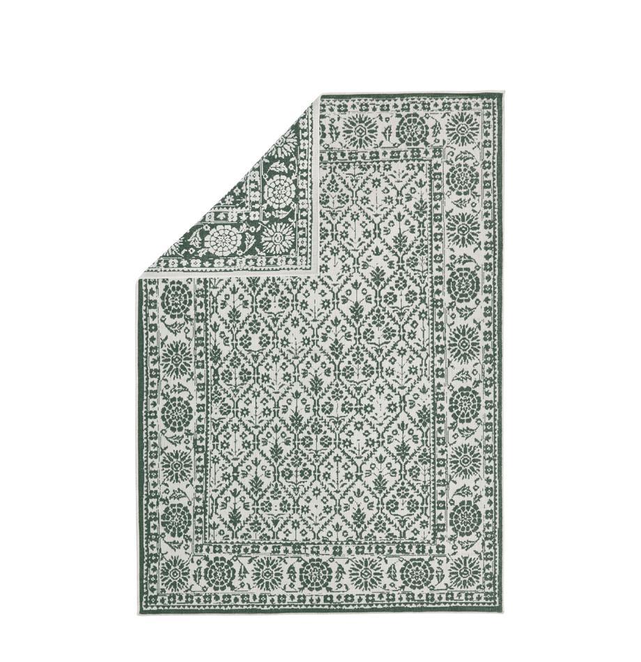 In- und Outdoor-Wendeteppich Curacao im Vintage Style, Grün/Creme, Grün, Cremefarben, B 200 x L 290 cm (Grösse L)