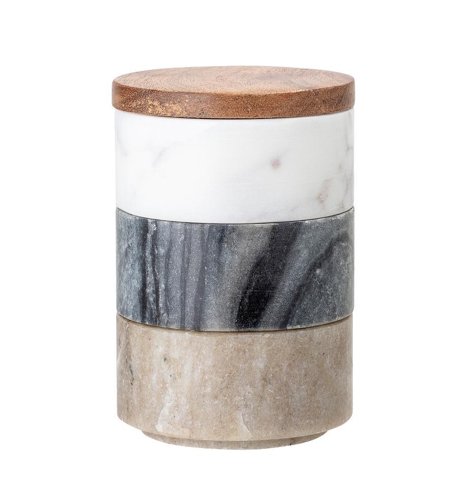 Kleine Aufbewahrungsdosen Gatherings aus Marmor, 3er-Set, Dosen: Marmor, Deckel: Akazienholz, Braun, Grau, Weiß, marmoriert, Ø 8 x H 12 cm