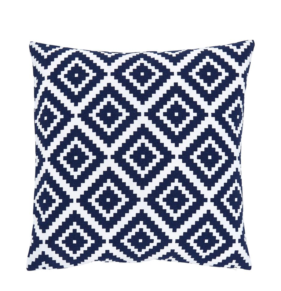 Kissenhülle Miami in Dunkelblau, Weiß, 100% Baumwolle, Blau, 45 x 45 cm