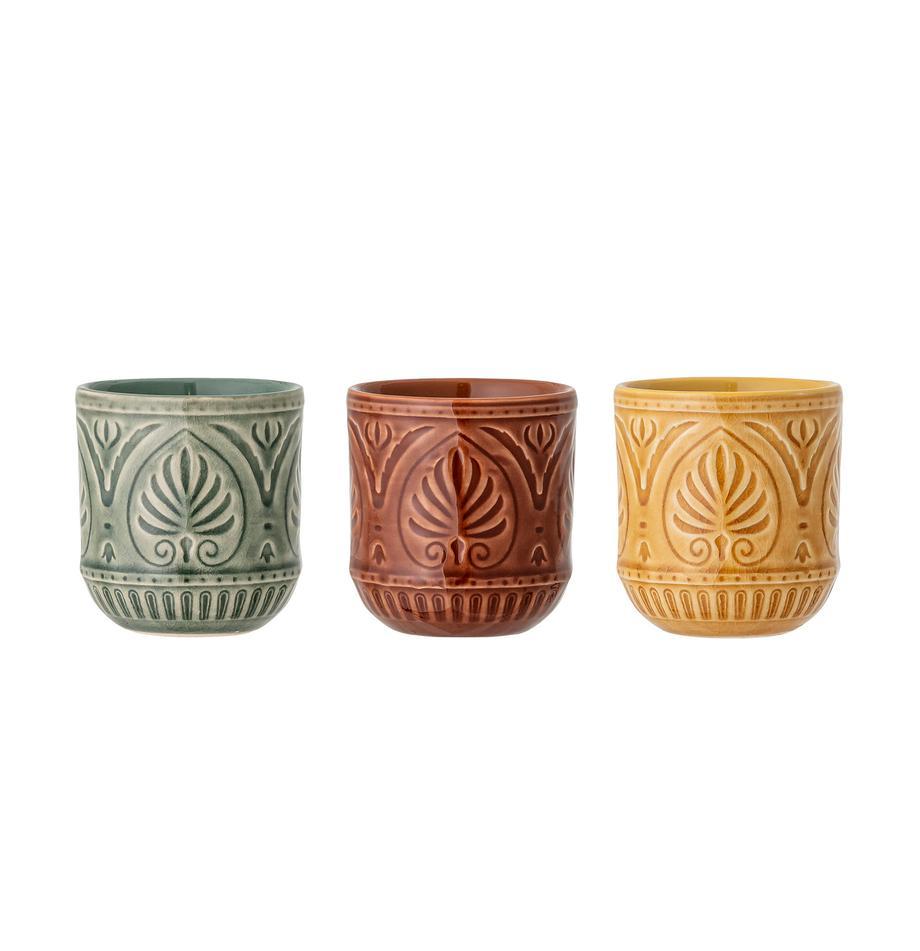 Set 3 tazze stile marocchino fatte a mano Rani, Terracotta, Verde, giallo, rosso, Ø 8 x Alt. 9 cm