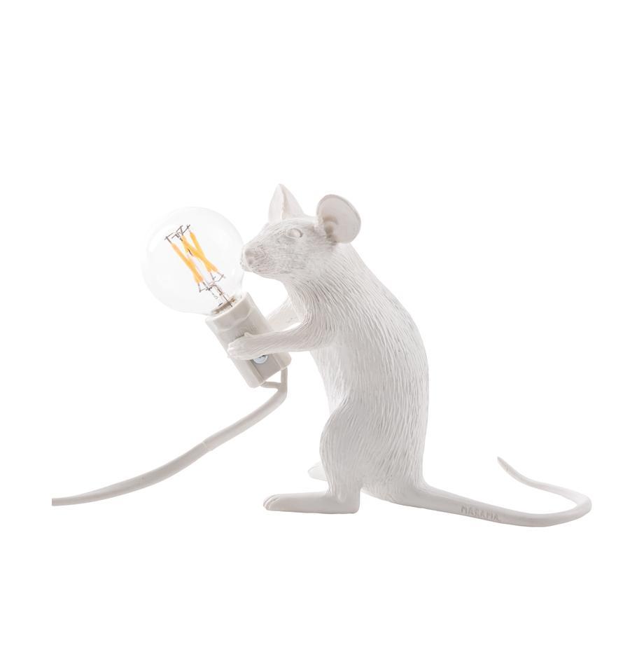 Lampada da tavolo a LED Mouse, Lampada: resina sintetica, Bianco, Larg. 5 x Alt. 13 cm