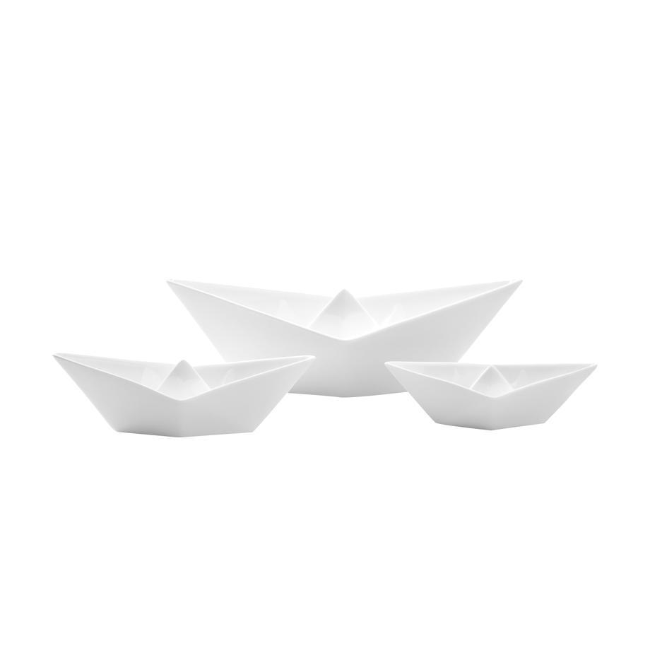 Set de barcos de decoración My Boat, 3pzas., Porcelana, Blanco, Set de diferentes tamaños