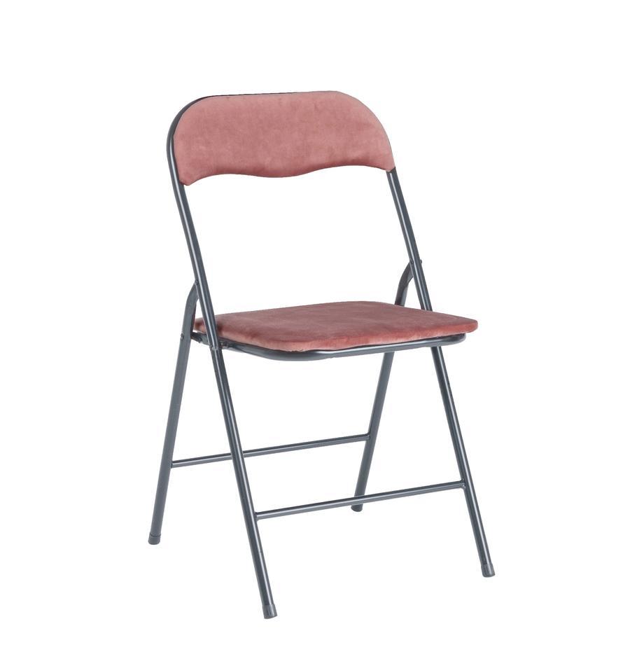 Sedia pieghevole in velluto Amal, Rivestimento: velluto di poliestere, Struttura: metallo verniciato a polv, Rosa, grigio, Larg. 44 x Prof. 44 cm